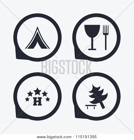 Food, hotel, camping tent and tree signs.