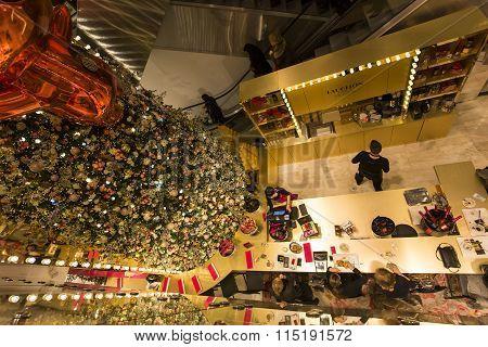Christmas Decorations At Le Printemps Store, Paris, France