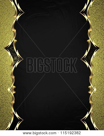 Beautiful Gold Frame With Gold Ornaments On Black Background. Element For Design. Template For Desig