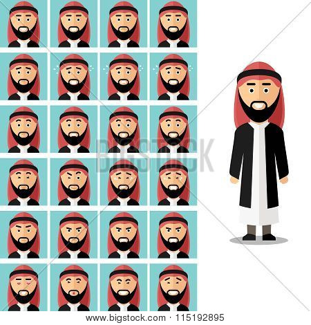 Face emotions of arab man. Vector set in flat style