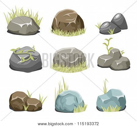 Rocks with grass, stones and green grass on white