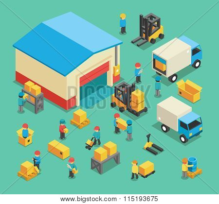 Isometric moving cargo and warehousing employees