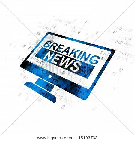 News concept: Breaking News On Screen on Digital background