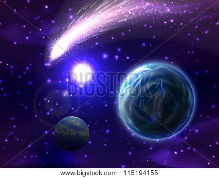 Vector comet background.
