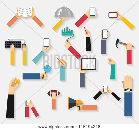 Hands holding objects vector