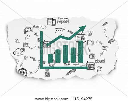 News concept: Growth Graph on Torn Paper background