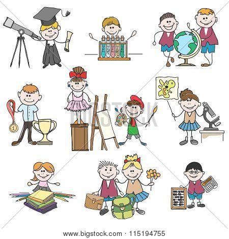 Kids hobbies doodle drawings