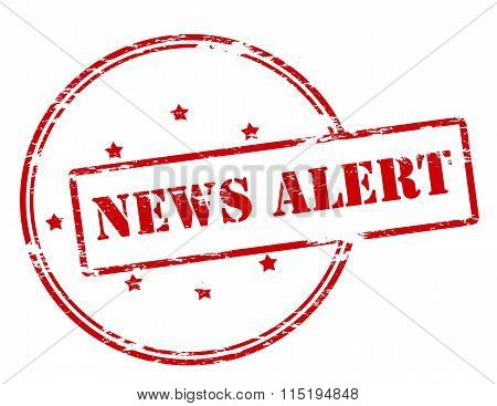 Rubber stamp with text news alert inside vector illustration