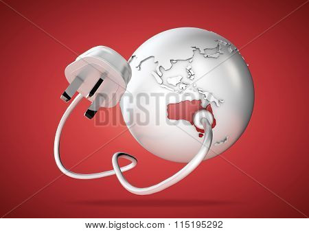 Electric power cable and plug point connect to a brightly colored country Australia on a world globe