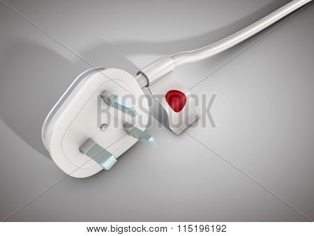 Electrical Power Cable And Plug With Japan Country Flag Attached.
