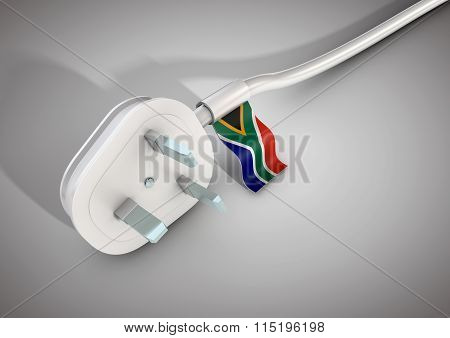 Electrical Power Cable And Plug With South African Country Flag Attached.