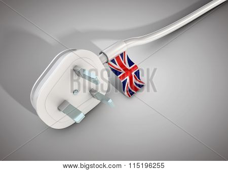 Electrical Power Cable And Plug With United Kingdom Country Flag Attached.