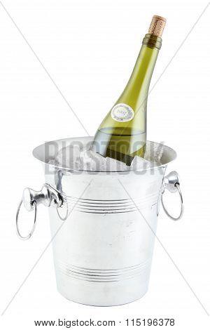 Bottle in an ice bucket