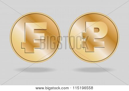Symbols of Franc and Ruble currencies.