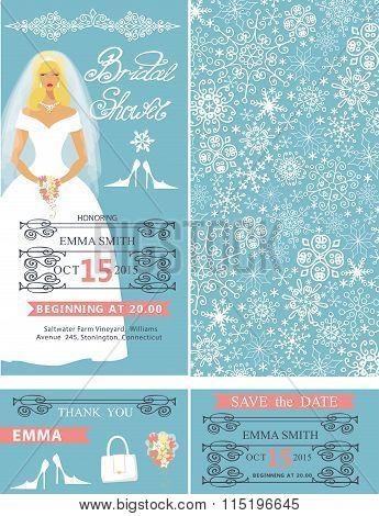 Bridal shower wedding  cards.Bride,Winter pattern