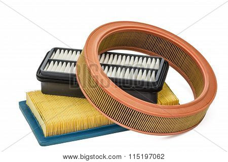Car Filters Close-up, Auto Spare Part, Isolated On White