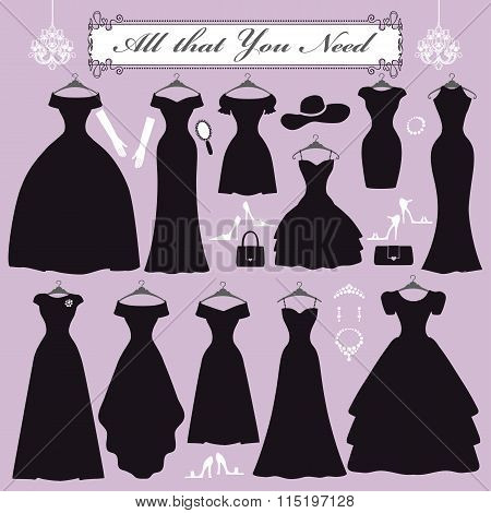 Silhouette of black party dresses,accessories kit.Fashion flat