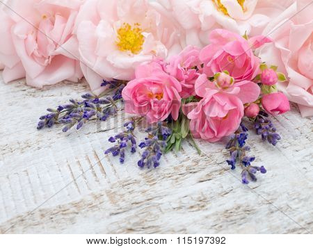 Pale Pink Roses And Lavender Bouquet