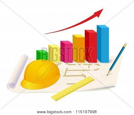 Helmet, Ruler And Growing Graph On House Plan