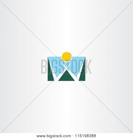 Logo Letter W Mountain And Sun Icon
