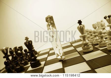 Chess Pieces, Separated By Crystal Polyhedron