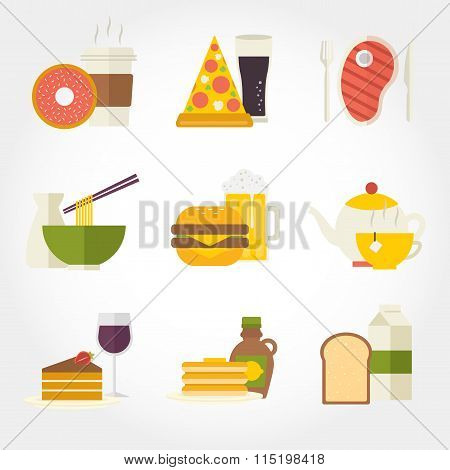 Food and drinks flat design icon