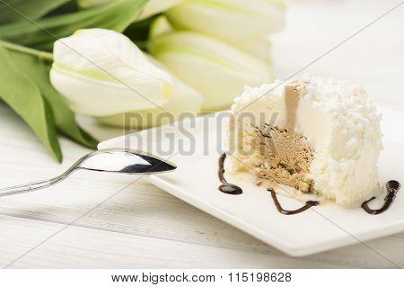 Itailan vanilla icecream on white plate.