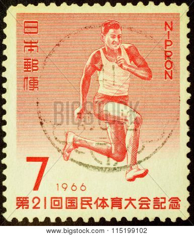Athlete In Triple Jump On Post Stamp