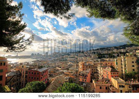 Genoa Italian Historic Touristic City, Beautiful Cityscape With Harbor And Lighthouse.