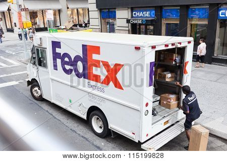 Fedex Express Truck In New York City