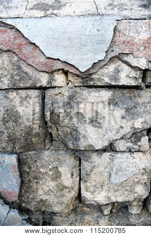 Background of old cracked stone wall