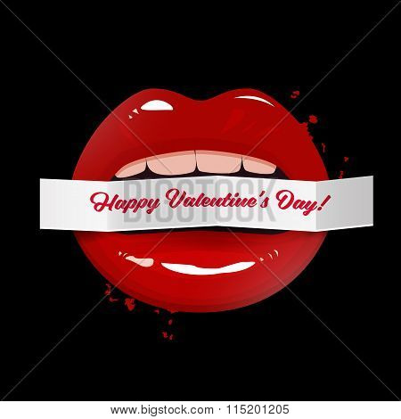 Happy Valentine's Day Vector Illustration, Red Seductive Lips Holding A Paper Banner On Dark Backgro