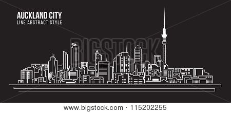 Cityscape Building Line Art Vector Illustration Design - Auckland City