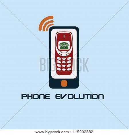 Phone Evolution Flat Design