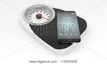 Bathroom scale with smartphone, isolated on white background.