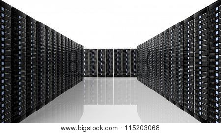 Network servers data center room, on white background with reflections.
