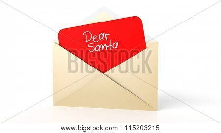 Open yellow envelope with Dear Santa note, isolated on white.