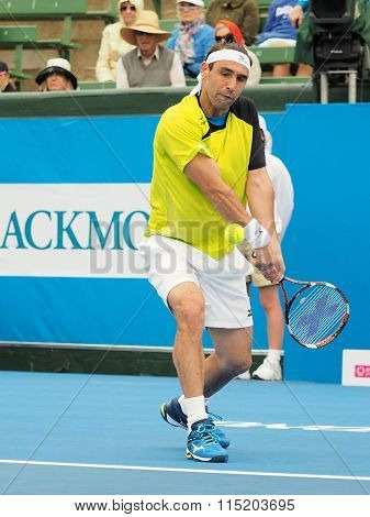 Marcos Bahdatis hits a backhand