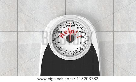 Bathroom scale with Help message on dial, on bathroom floor