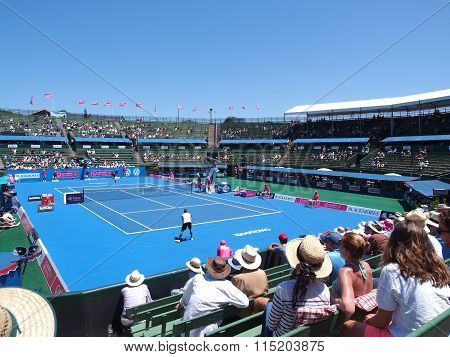 Exhibition and practice match at the center court at Kooyong Tennis Club