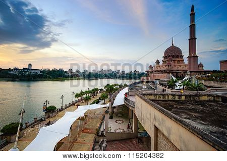 Beautiful View Of Putra Mosque During Sunset In Putrajaya