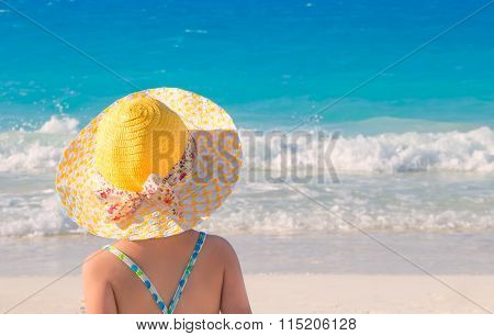 Back view of little girl on the beach