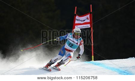 LENZERHEIDE, SWITZERLAND - MARCH 11 2014: During the Audi FIS Alpine Skiing World Cup Finals downhill training in Lenzerheide, Switzerland.