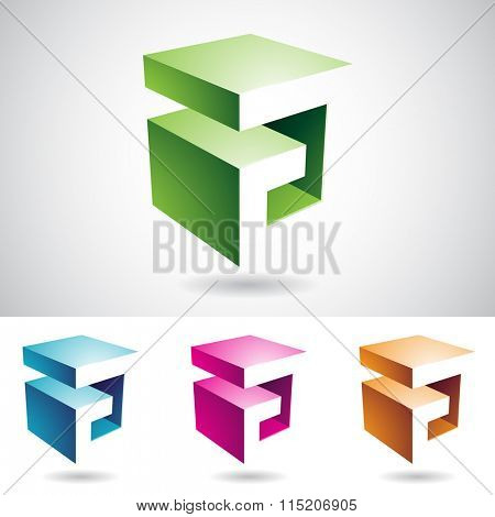 Vector illustration of Abstract Icons for Letter A with transparent shadows, isolated on a white background