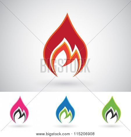 Vector Illustration of Colorful Fire Icons isolated on a white background