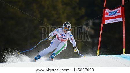 LENZERHEIDE, SWITZERLAND - MARCH 11 2014: During the Audi FIS Alpine Skiing World Cup Finals downhill training in Lenzerheide, Switzerland.