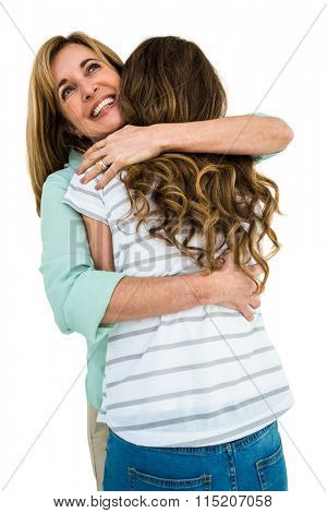 Mother comfort her daughter and gave him a hug