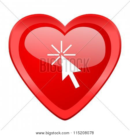 click here red heart valentine glossy web icon