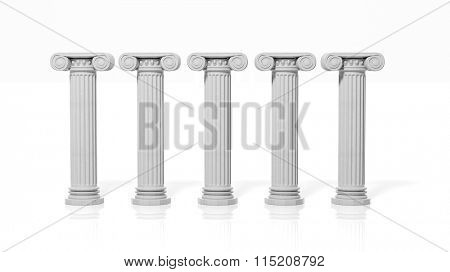Five ancient pillars, isolated on white background.