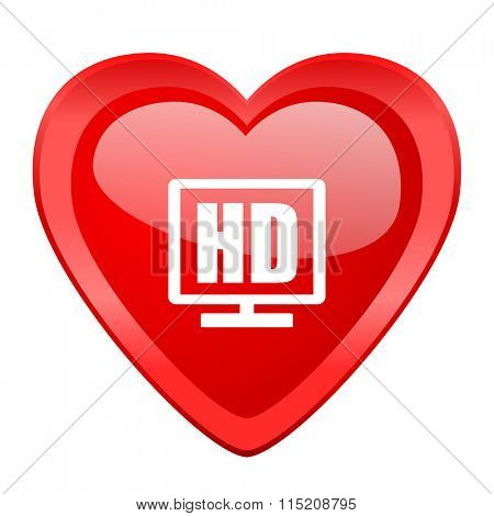 hd display red heart valentine glossy web icon